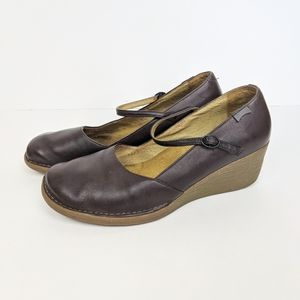 Camper Leather Mary Jane Wedge Shoes